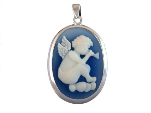 925 Sterling Silver Angel Cloud Music Hymne Cameo Oval Blue (Angel Oval Cameo Pendant)