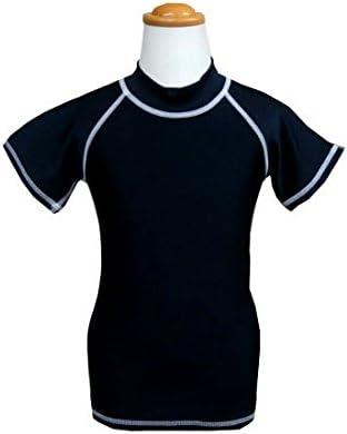 日本製 スイミングラッシュガード キッズラッシュガード 半袖 ネーム入れ可 ブラック