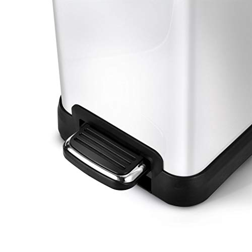 Home Zone Rectangular Step Trash Can - 2 Gallon/ 8 Liter Stainless Steel Waste Bin, White (VA41313A) by Home Zone (Image #3)