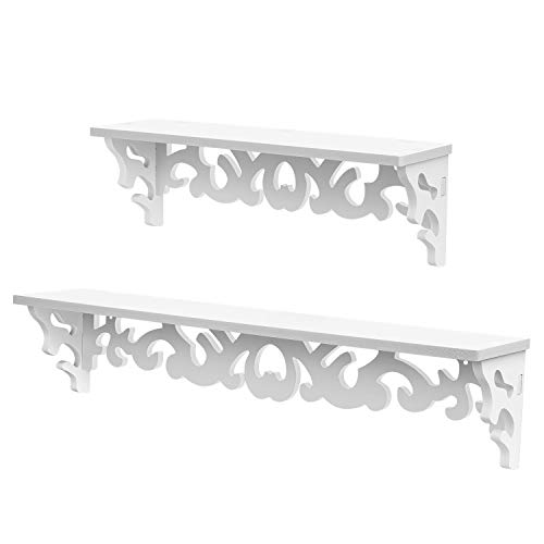 - Flexzion Floating White Scrollwork Design Shelves Wall Mounted - Home Decor Wall Hanging Display Stand Rack Storage for Books Collections Utility Decorative Bedroom Living Room