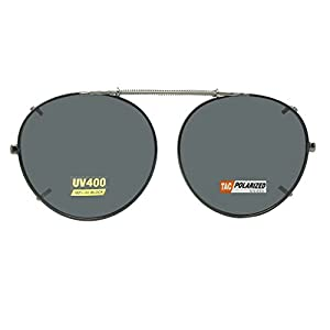 Semi Round Polarized Clip On Sunglasses (Dark Pewter Black-Polarized Gray Lens, 48mm Wide x 46mm Height)