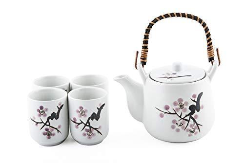 (Japanese White Snow Cherry Blossom Sakura Tea Set Ceramic Teapot with Rattan Handle and 4 Tea Cups)