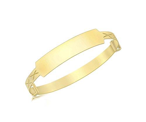 Carissima Gold 9ct Yellow Gold ID Diamond Cut Extendable Baby Bangle