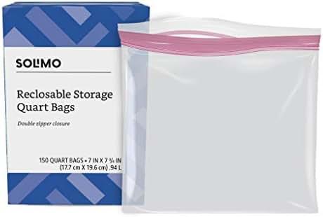 Amazon Brand - Solimo Quart Food Storage Bags, 150 Count