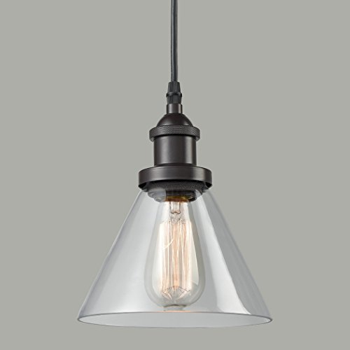 Antique Lighting Hanging - CLAXY Ecopower Antique Industrial Mini Glass Pendant Lighting 1-Light Oil-rubbed Bronze Fixture