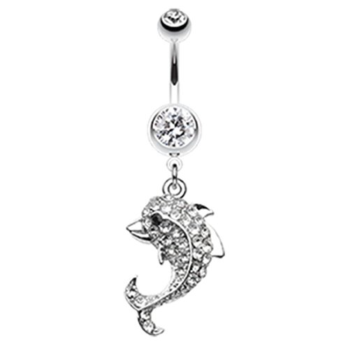 Baby Dolphin 316L Surgical Steel Freedom Fashion Belly Button Ring (Sold Individually) (14GA, 3/8