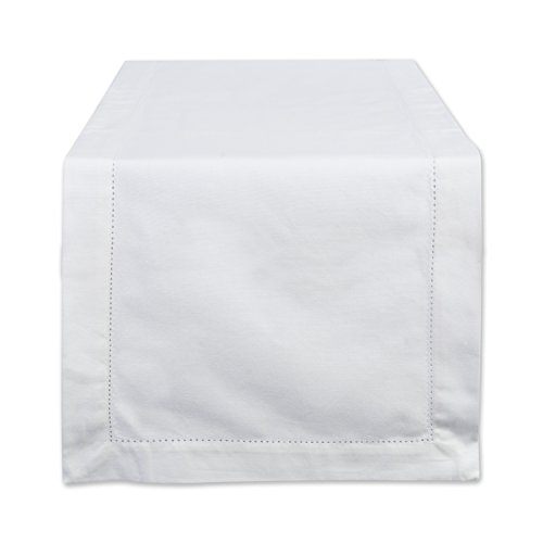 DII 100% Cotton, Machine Washable, Everyday Hemstitch Kitchen Table Runner For Dinner Parties, Events, Decor 14x72