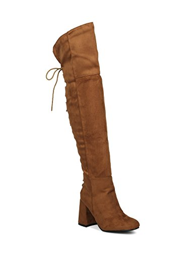 Indulge Bella-I Women Faux Suede Over The Knee Hind Lace Up Block Heel Boot HE65 - Camel Faux Suede (Size: 10)