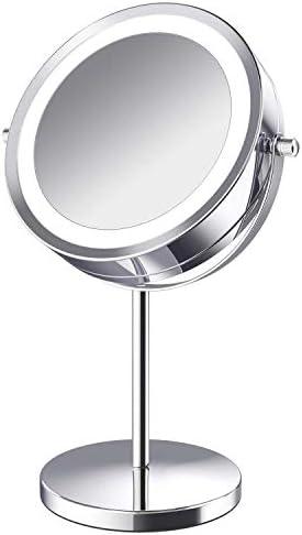 照明付き化粧鏡が - LEDダブル5倍/ 7倍/ 10倍の倍率化粧鏡を両面、7インチのバッテリ駆動(含まれていない)のオン/オフプッシュボタン付き360度回転バニティミラー (Size : 5X)