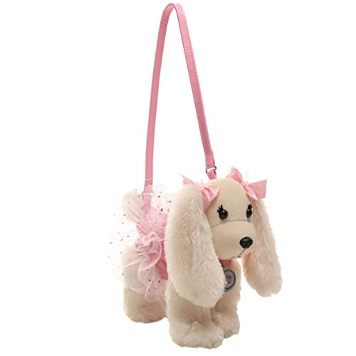 Poochie Poochie and Co. Girls Plush Handbag- Lizzy with Pink Halographic Disco Dots and Hearts Printed on Pink Tutu]()