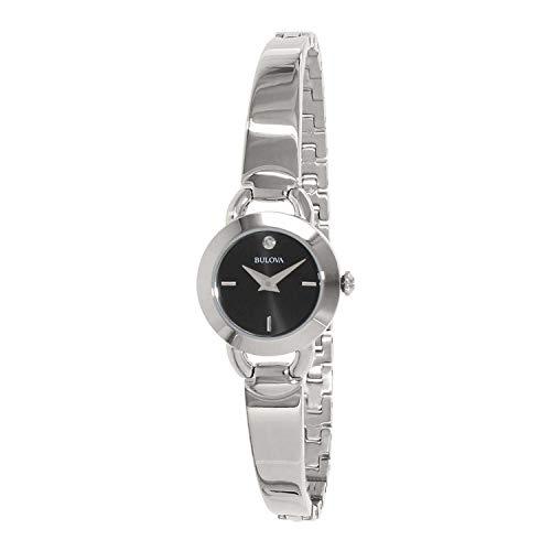 (Bulova 96P155 Women's Diamond Accent Stainless Steel Bangle Bracelet)
