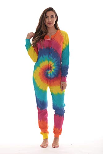 #followme Women's Tie Dye Henley Thermal Onesie 6769-10364-M