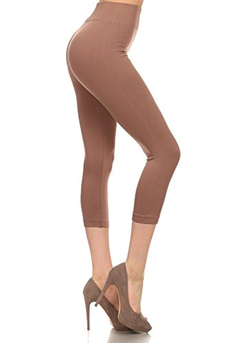 Belle Donne - Womens Seamless Capri Leggings Solid Colors Polyester Spandex - Khaki