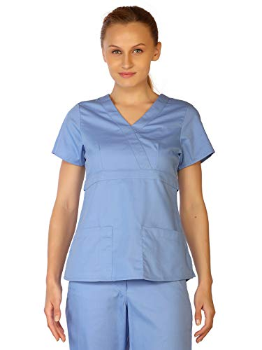 LifeThreads Classic Women's Antimicrobial Mock Wrap Scrub Top