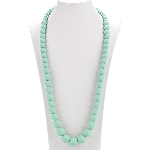 Pearl Like Beaded Necklace - Consider It Maid Silicone Teething Necklace for Mom to Wear - FREE E-BOOK - BPA FREE and FDA Approved - Limited (Mint)