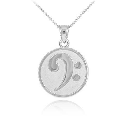 Price comparison product image 925 Sterling Silver Music Note Pendant Bass Clef Necklace, 22""