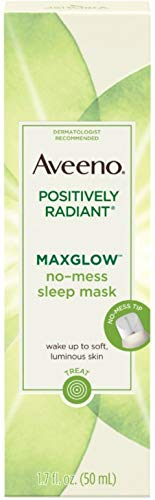 Aveeno Positively Radiant MaxGlow No-Mess Hydrating Sleep Mask with Moisture Rich Soy & Kiwi Complex, Hypoallergenic 1.7 oz