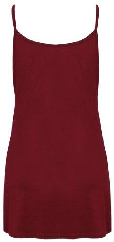 Damen Träger Shirt Einfarbiges Ärmelloses Camisole Tank Top Stretch Rundhals Ausschnitt T-Shirt Top - 36-38, Rot