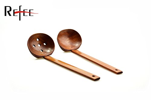 refee-85-inches-handcrafted-wooden-soup-spoon-slotted-spoon-2-sets