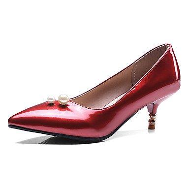 Zapatos de tacones de las mujeres Primavera Verano Otoño Invierno Confort de cuero y de oficina Partido Carrera y Noche Tacón de aguja del talón informal imitación pearlblack Rojo Black