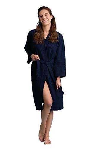 Women's Robe, Long Waffle Spa Bathrobe, Square Pattern (Large/One Size, Navy)