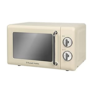 Russell Hobbs RHRETMM705C 17L Retro Manual 700w Solo Microwave Cream