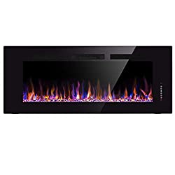 Xbeauty Electric Fireplace In-Wall Recessed and Wall Mounted 1500W Fireplace Heater and Linear Fireplace with Timer/Multicolor Flames/Touch Screen/Remote Control (Black) by Xbeauty