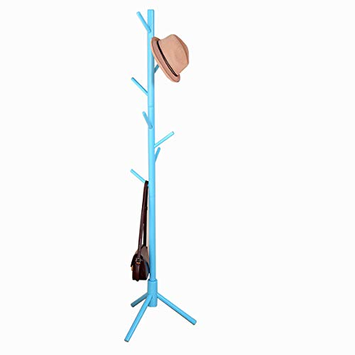 Garwarm 8-Hooks Creative Simplicity Solid Wood Floor Finish Entryway Standing Coat Rack Hall Tree Hat Hanger Holder with Tripod Base for Jacket Clothes Scarves Purse (Rack Coat Blue)