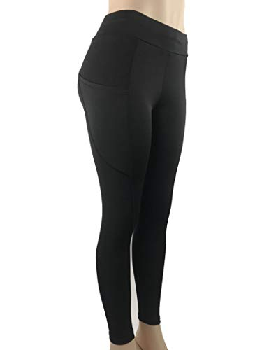 AmDxD Sport Pants Polyester Athletic Pants Activewear Pants Women Sport with Pocket Black Size M (Gym Equipments For Home Price In India)
