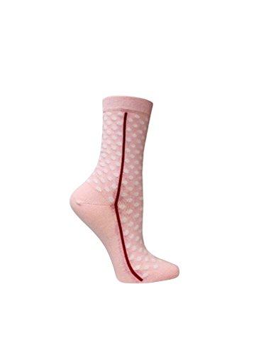Polka Dots White Cotton Socks - Premium organic cotton polka dots women's socks with seamless toes. Pink with white dots. (Pink)