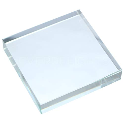 5 Pack - CleverDelights 3 Inch Square Glass Tiles - Clear Solid Glass Tiles - 3 x 3 x 5/8 Thick