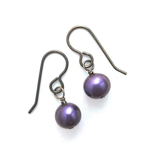 Purple Cultured Pearl Earrings on Antiqued Brass Ear Wires