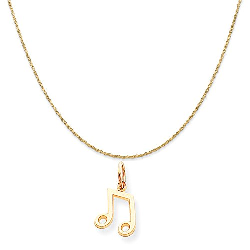 10k Yellow Gold Musical Note Charm on a 14K Yellow Gold Rope Chain Necklace, 18