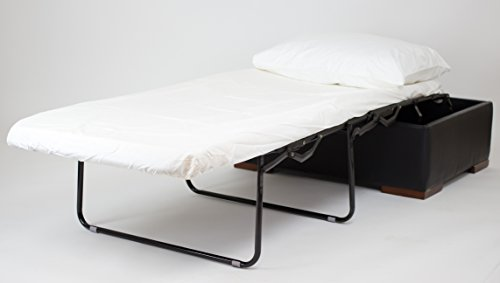 Corner Housewares iBED Convertible Ottoman No Assembly Living Room Upholstered Ottoman Foldable Hideaway Spring Supported Guest Bed and 2 Foam Mattress, Espresso