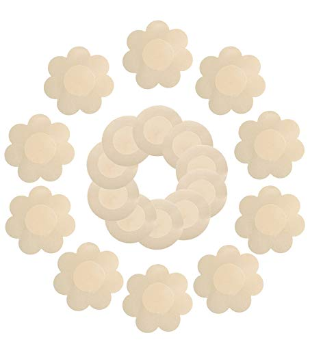 Disposable Georgia Towel (Daisyformals 10 Pairs Satin Pasties Women Sexy Pasties Disposable Nipple Covers(Flower & Round))