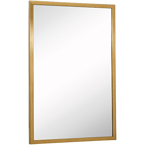 Commercial Grade Contemporary Industrial Strength Wall Mirror | Brushed Gold Metal Rectangle with Mirrored Glass | Vanity, Entrance, Bedroom, or Restroom Horizontal & Vertical (24