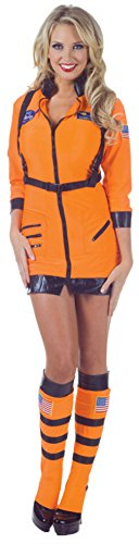 Underwraps Womens Uniforms Astronaut Sexy Orange Halloween Themed Fancy Costume, S (6-8) (Holiday Themed Costumes)