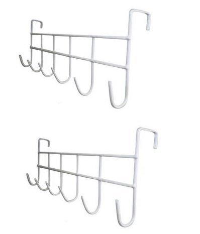 2 PCS White Over The Door Home Bathroom Coat Towel Hanger Rack 6 Hooks by Coat Hooks