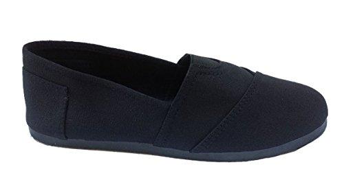 Elegante Menns Svart Vanlig Lerret Slip-on Flat Loafer Sko Svart ...