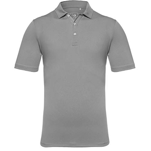 EAGEGOF Men's Regular Fit Golf Polo Shirt Short Sleeve Stretch Quick Dry Performance Polo(Dark Grey, XL) (Best Mens Cooling Shirt)