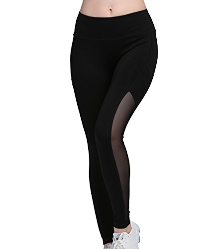 Running Girl Side Mesh Ankle Leggings Women's Tights Active Yoga Pants Fitness Workout Capris (M, Black)