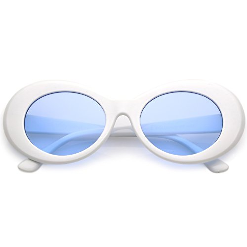 2688ced77d zeroUV - Bold Retro Oval Mod Thick Frame Sunglasses Clout Goggles with  Color Tinted Round Lens