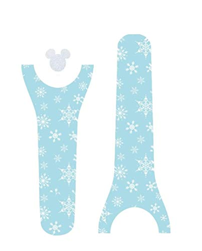 Disney MagicBand Decal Sticker Skins Frozen Themed Snowflakes with Silver Glitter Mickey Head for Magic Band -