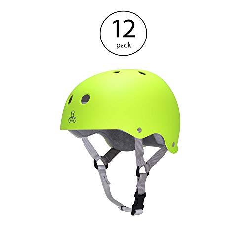 Helmet Sweatsaver T8 Liner (Triple 8 Skater Hardened Skate Helmet with Sweatsaver Liner, Neon Zest - Small (12 Pack))