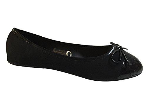 Shoes8teen Shoes 18 Womens Ballerina Balletto Scarpe Piatte Solidi E Leopardi ... Nero 113a