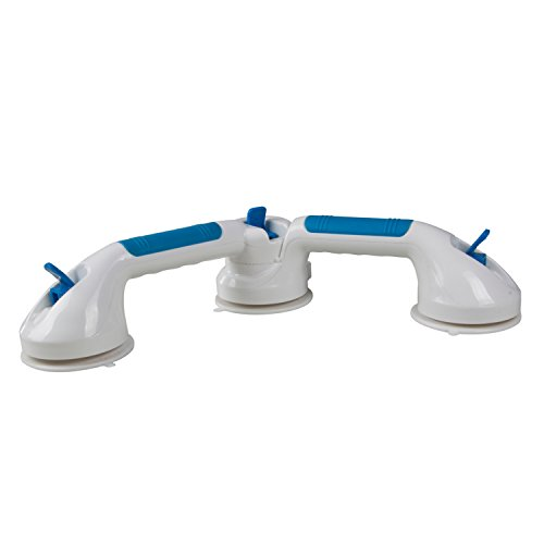 PCP Multi-Positional 180 Degree Suction Grip Bathtub and Shower Handle with Color Lock Indicators, White ()
