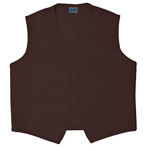 Style A740NP No Pocket Unisex Uniform Vest, (Extra Large, Brown) ()