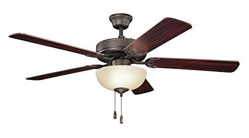 Satin Natural Bronze 52in. Indoor Ceiling Fan with 5 Blades - Includes Light Kit 4in. Downrod