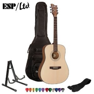 ESP-LTD-XTONE-D-6-Natural-Satin-Acoustic-Guitar-with-Strap-Stand-ChromaCast-Pick-Sampler-and-ChromaCast-Gig-Bag