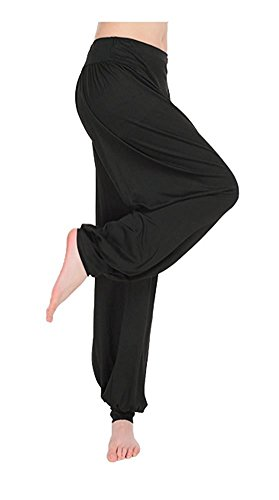 - ARJOSA Women's Cotton Spandex Wide Leg Lounge Harem Yoga Pants (XL, Black)